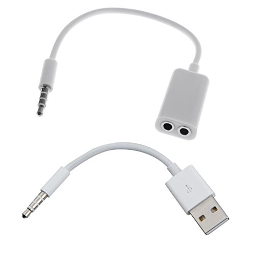 MagiDeal 3,5 mm Stecker Aux Audiostecker auf USB-2.0-Buchse Konverter Kabel mit Kopfhörer Y Splitter
