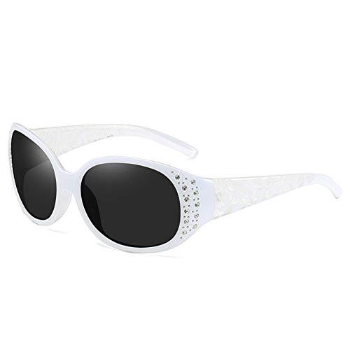 Taiyangcheng Polarisierte Sonnenbrille Vintage Mode Retro Polarisierte Sonnenbrille Damen Shades Diamant Sonnenbrille Weibliche Trendy Geschnitzte Beine Uv400,Weiß
