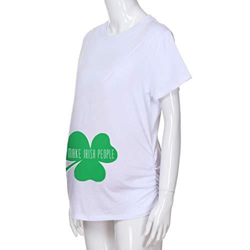 Kleidung Frauen Schwangere Frauen Kurzarm St. Patrick's Day T-Shirt Umstandsmode Umstandsmode-Spitzenkleid-Chiffon-Umstandskleid (Patricks St Kleidung Day Damen)