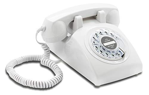 Opis 60s Cable: Klassisches Telefon der 60er und 70er mit schwarzem Deutsche Post Pappeinleger/Retro Telefon im sechziger Jahre Vintage Design mit Wählscheibe und Metallklingel (weiß)