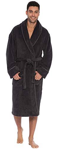 INTIMO Herren Solid Plush Robe W/Satin Trim Bademantel, dunkelgrau, One Size