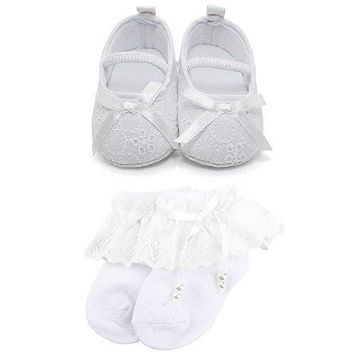 OOSAKU Baby Mädchen Kleinkind Säuglings Spitze Floral Bowknot Weiß Taufe Schuhe rutschfeste Mary Jane Dance Ballerina Hausschuhe (6-9 Monate, Schuhe & Socken2) Floral-trainer