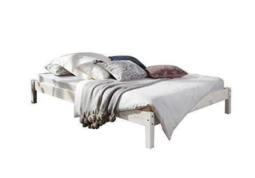 SAM® Futonbett, Gästebett weiß aus Kiefernholz, massives Bett aus Kiefer, zeitlose Optik für Ihr Schlafzimmer, 90 x 200 cm [53262794]