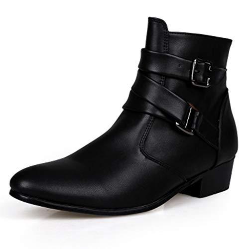 Henxizucun Männer Arbeiten Stiefel Spitz Motorrad Martin Stiefel Western Martin Chelsea Stiefeletten mit Reißverschluss Schuhe mit Schnallenriemen Ankle Short Boots Größe,Black,47