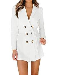 ADESHOP Mode Manteau, Femmes Manches Longues Bouton Couleur Pure Collier De  Pile ÉLéGant Blazer Veste Manteau Femmes Slim Chic… e50f437aeded