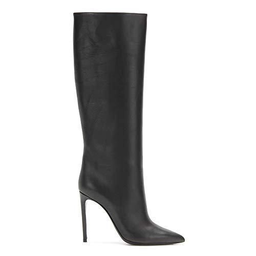 WHL.LL Lady's PU Knie Feiner High Heel Hohe Stiefel Gerade Ein Fuß Hoher Absatz Stiefel Ritter Stiefel (Absatzhöhe: 12Cm), Black,45