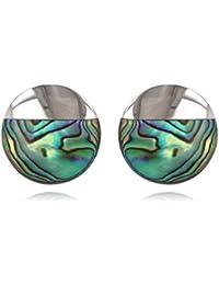 ADEN – Pendientes de disco de nácar abulón engastado en plata rodiada