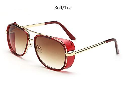 Cranky Orange Rossi Sonnenbrillen Herren Steampunk Coating Retro Vintage DesignerÜbergroße Herren Sonnenbrille, Roter Tee