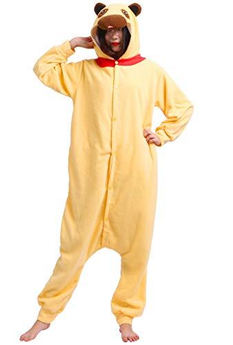 Karton Fasching Halloween Kostüm Sleepsuit Cosplay Overall Pyjama Schlafanzug Erwachsene Unisex Lounge Kigurumi Gelb Mops for Höhe 140-187CM ()