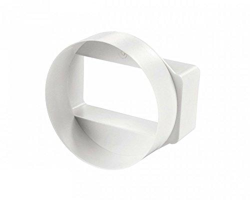 Invero® Weiß Kurz Rund zu rechteckig horizontale Luftführung Adapter-110mm x 54mm -