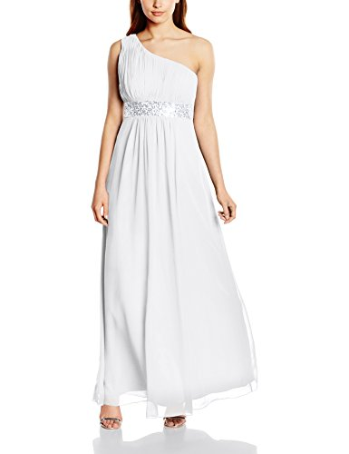 Astrapahl Damen Kleid One Shoulder mit Pailletten, Maxi, Einfarbig, Gr. 44, Weiß