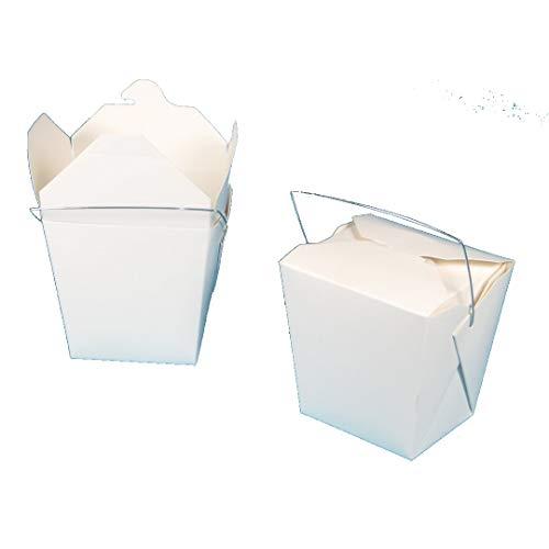 500-1000 Foodboxen Snackbox Asiabox Nudelbox Pastabox Cakebox eckig weiß mit Henkel verschiedene Größen gemäß Auswahl (26oz/750ml 500St)
