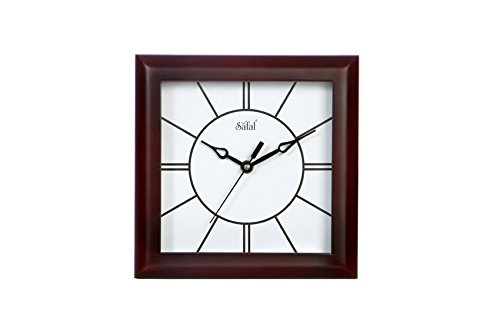 Safal Sleek Lines Mini Square Wooden Wall Clock