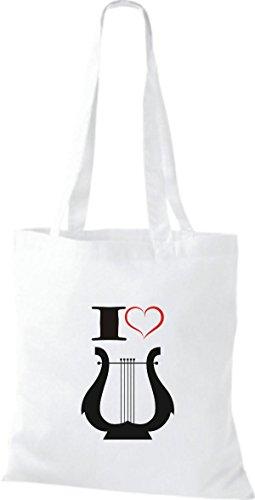 Shirtstown Stoffbeutel Musik I love Hand Harfe Harp Weiß