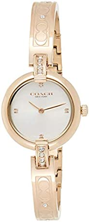 Coach Women's Silver White Dial Ionic Plated Carnation Gold Steel With Crystal Watch - 1450