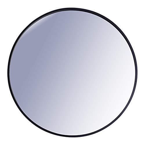 Schminkspiegel Badezimmer Runde Wand Schwarz Metallrahmen Spiegel 55CM (22 Zoll) Eitelkeit/Dekorativer europäischer Stil Einfacher Spiegel für Einstieg Wohnzimmer und mehr - Schwarz-badezimmer-eitelkeit Spiegel