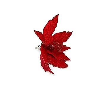Davies – Púa de Flor de Pascua Artificial (18 cm), Color Rojo