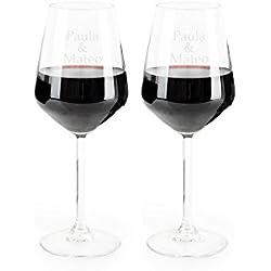 Regalo Original 2 Copas de Vino Burdeos de Cristal grabadas con tu Texto