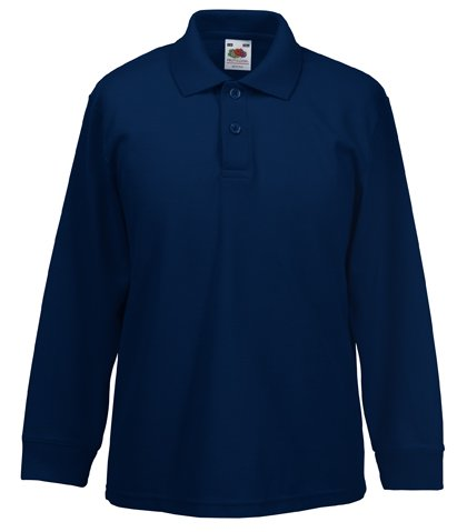 Fruit Of The Loom 63201 Kids Long Sleeve Childrens 65/35 Pique Polo Shirt - Deep Navy - Age 7-8 (Ein Polo Kind Pique)