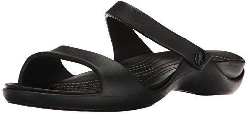 Crocs Cleo V W, Sandalias Punta Abierta Mujer, Negro