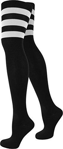 Top modische Damen Overknees in verschiedenen Designs / Baumwolle mit Elasthan in verschiedenen Farben zur Auswahl Farbe American/Stripes/Schwarz Größe (Design College Kostüm)