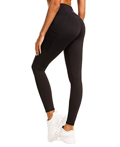 QUEENIEKE Damen Yoga Leggings Power Flex Mesh Mittlere Taille 3 Handytasche Gym Laufhose Farbe Schwarz Größe M(8/10 -