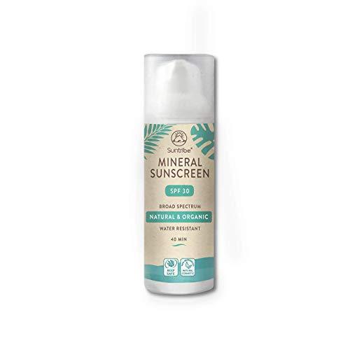 Suntribe Mineralische Bio-Sonnencreme LSF 30 - Körper & Gesicht - Zinkoxid (mineralischer UV-Filter) - Reef safe/Riffsicher - 7 Inhaltsstoffe - Wasserfest (50ml)