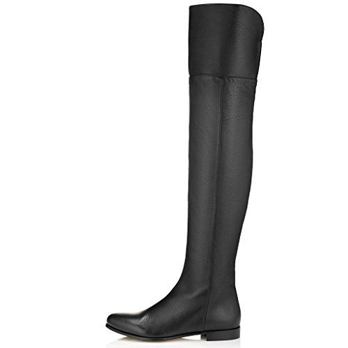 XUENVTIA Damen Reißverschluss Runder Kopf Mit der Seite Knie-Knie-Oberschenkel-Stiefel Damen Ritter Stiefel schwarz braun, ()