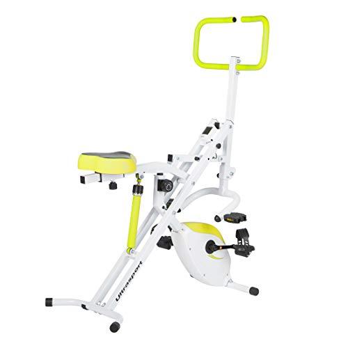 Ultrasport F-Rider Bicicleta estática 2 en 1, incluyendo F-Bike, aparato fitness para todo el cuerpo, entrenamiento cardio, Verde