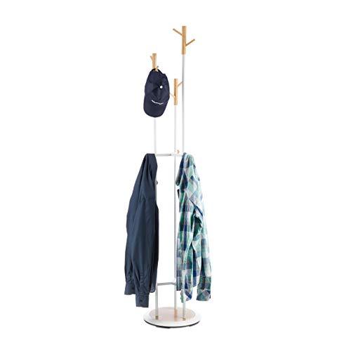 Relaxdays Garderobenständer, Flurgarderobe aus Metall & Holz, Jackenständer 9 Haken, Garderobe HxD 178 x 36,5 cm, weiß