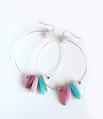 Ohrringe, versilberte Kreolen, rosa Jade, türkis, handgefertigt, Einzelstück