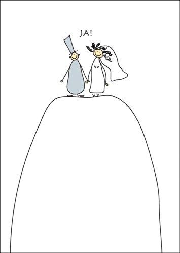 Hochzeitskarte mit niedlichem Brautpaar: Ja! • auch zum direkt Versenden mit ihrem persönlichen Text als Einleger.