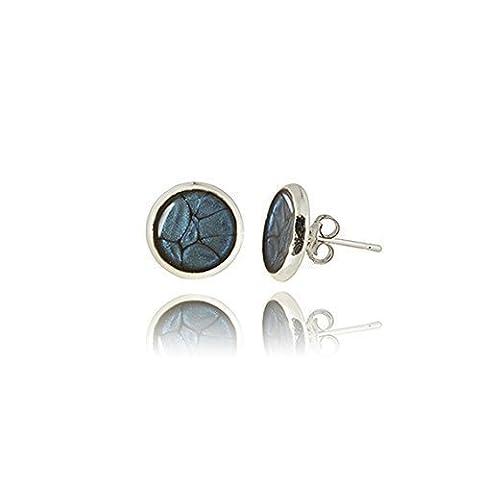 Le Bleu de minuit minuscule minimaliste clous d'oreilles dans une boîte cadeau