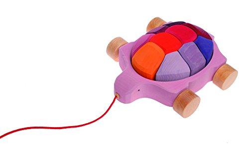 Los cuentos de los Hermanos Grimm tortuga Pull junto juguete con Waldorf bloques de construcción