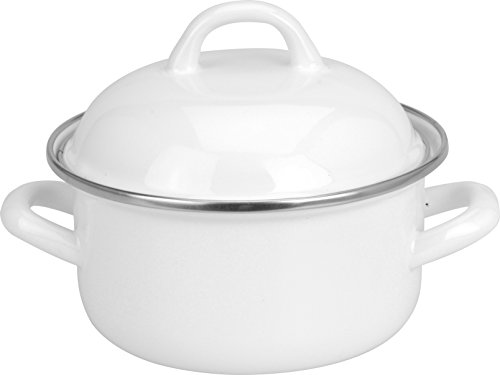 White Enamel 500ml Mini Individual Serving Pot Saucepan Pan with Lid (Single)