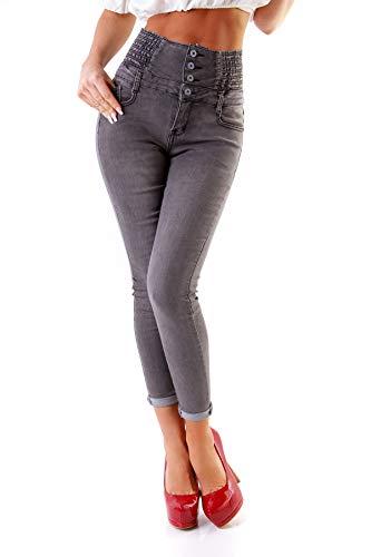 Fashion4Young 11209 Damen Hose Treggings Röhre Damenhose Stretch Skinny Chino High-Waist (Grau, XS-34)