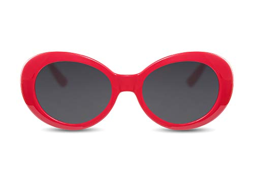 Cheapass Damen-Sonnenbrille Rot Vintage Kurt-Cobain UV-400 Festival-Brille Plastik Frauen Damen -