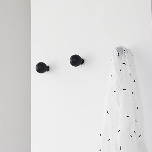 anaan Mushroom Diseño Perchero Pared Negro Colgador Abrigos Redondo Gancho Pared Madera Pasillo Moderno Decorativo nordico también para niños (Juego de 2 Negro)