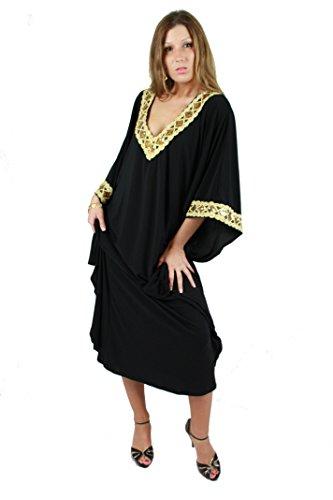 Damen Kaftan - Kleid im Butterfly Look, Sommer - Urlaub - Hauskleid - schwarz-gold (Einheitsgröße: S bis L) (Butterfly-kaftan)