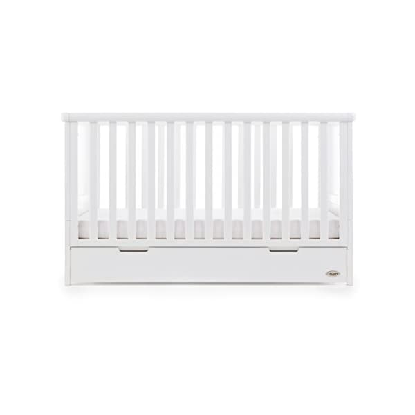 Obaby Belton Cot Bed, White Obaby Adjustable 3 position mattress height Bed ends split to transforms into toddler bed Includes matching under drawer for storage 5