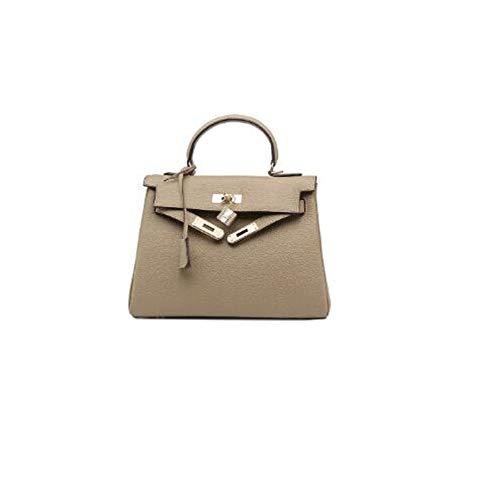 Einfache Umhängetasche UmhängetascheDamentasche Lychee Crossbody Handtasche grau 25cmx20cm
