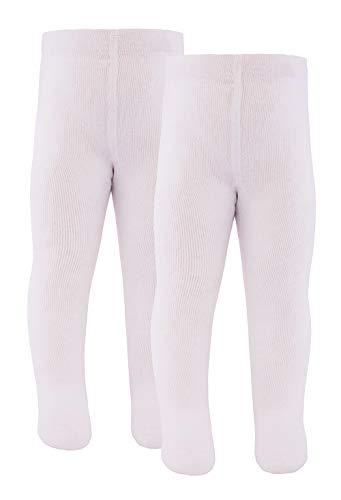 Ewers Baby- und Kinderstrumpfhose für Mädchen und Jungen 2er Pack, Made in Europe, Strumpfhose 98% Baumwolle Uni Basic Doppelpack,Weiß,74-80