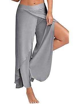 Pantaloni Yoga da Donna Larghi con Spacco Baggy Hip Hop Harem Danza Palazzo Trousers Tuta Jumpsuit Boho Hippie...