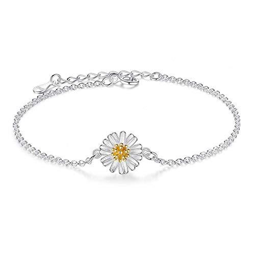 SHOUAQI Armband 925 Sterling Silber Daisy Flower Charm Armbänder Gliederkette Einstellbar Braclets Für Frauen Schmuck (Daisy Chain Mädchen)