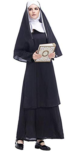 LCXYYY Damen Nonnen Kostüm Kleid und Kopfbedeckung Halloween Costume Damen Zombie Geist - Nonne Kostüm Kopfbedeckung
