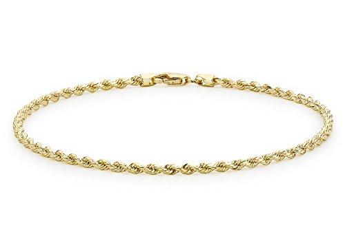 Carissima Gold Unisex Hollow Diamantschliff Rope Fußkette 9k(375) Gelbgold 2mm 25.5cm/10zoll