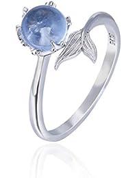 CNNIK 925 Anillo de plata esterlina Cola de Sirena con Apertura Ajustables de cristal sintético azul para mujeres damas niñas, adornos de plata con tendencia de moda con caja de regalo