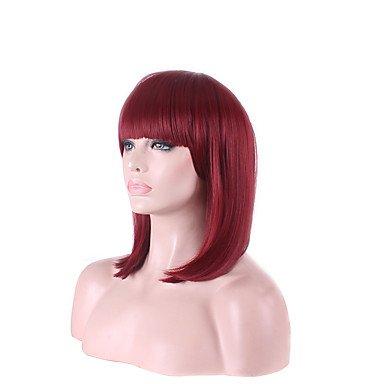 Afro CHEAP WINE rot Fuxia Color kurz Schöne Frauen Bob Perücken Cosplay Perücke Hochtemperatur Faser Kostüm (Australien In Billig Kostüme)