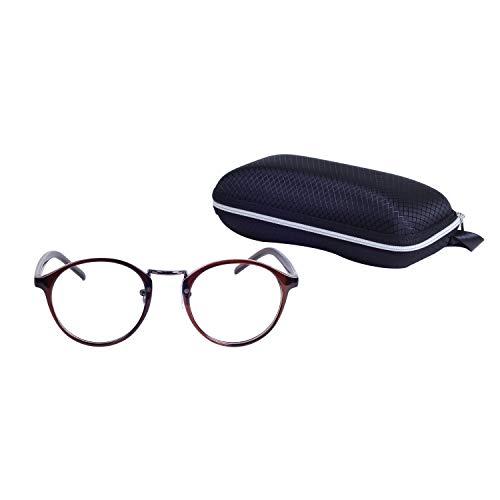 Nerdbrille Retro Rund Ohne Stärke Unisex Dekogläser Klassisches Mode Damen/Herren Brillen mit Etui
