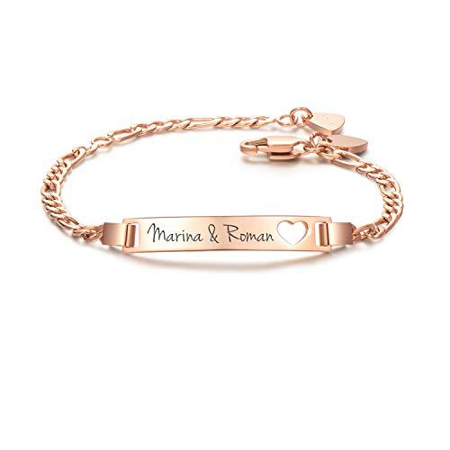 URBANHELDEN - Armband mit Wunschgravur - Graviertes ID-Armband mit Herz-Anhänger - Damen Gravurarmband Name - Armkette Schmuck - Bar Herz Gravur - in Rosegold